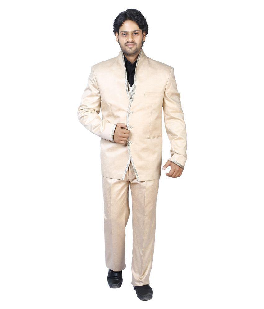 Bindals Beige Solid Party Suit