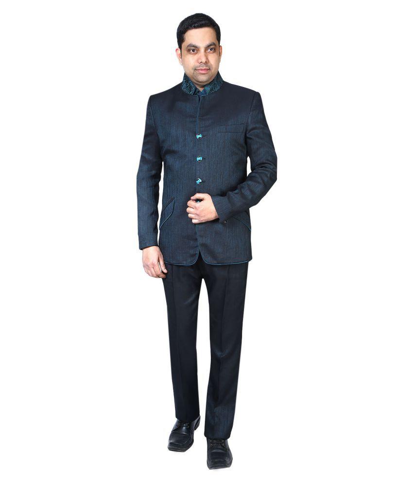 Bindals Blue Self Design Party Suit