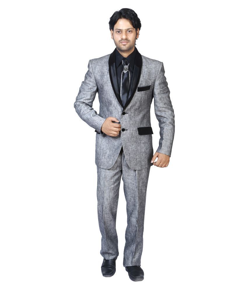 Bindals Grey Self Design Party Suit