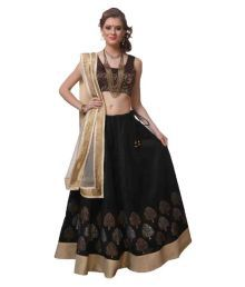 Vf Designer Black Bangalore Silk Unstitched Lehenga