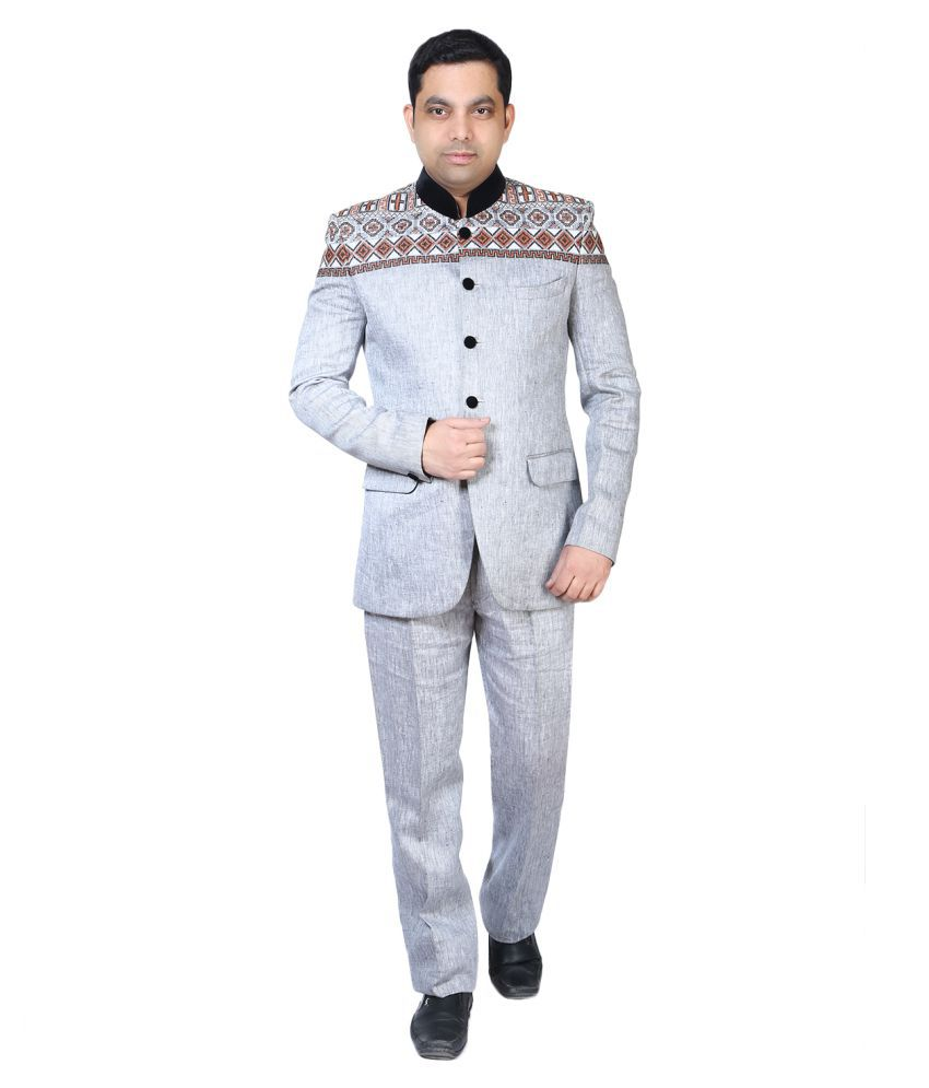 Bindals Grey Plain Party 2 Piece Suits