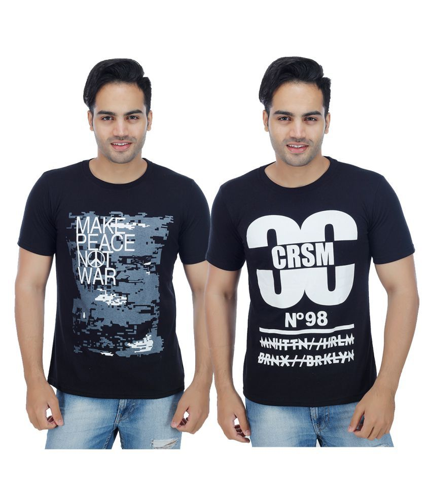 Rakshita's Collection Black Round T-Shirt Pack of 2