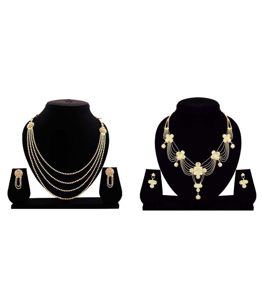 Dealseven Fashion Golden Alloy Necklaces Set Combo