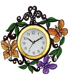 Brothers Creation Circular Analog Wall Clock Butterfly Clock 15 - Pack Of 1