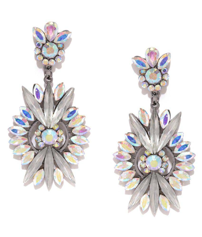 Golden Peacock White Alloy Hanging Earrings