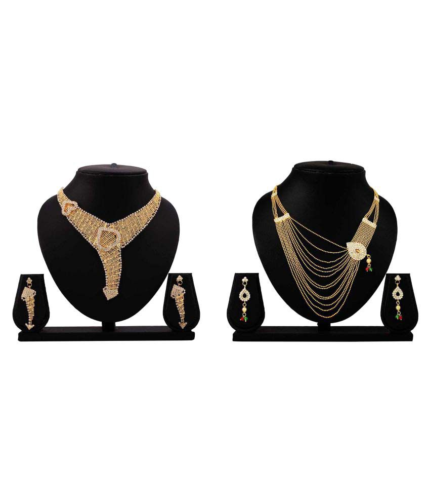 Gopalvilla Golden Alloy Necklace Set - Combo of 2