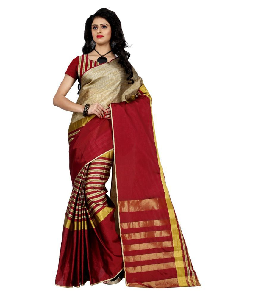 Wama Fashion Red Tussar Silk Saree