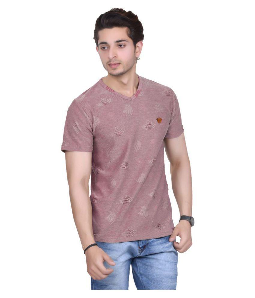 Broche Maroon V-Neck T-Shirt