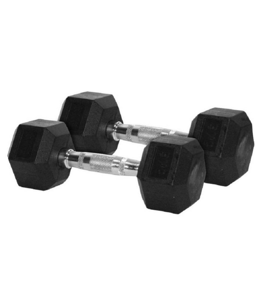 Fitever Home Gym Exercise 2.5 Kg X 2  Total 5 Kg  Cardio Aerobic Training Fitness Grippy Hex Rubber  Pair  Fixed Weight Dumbbell