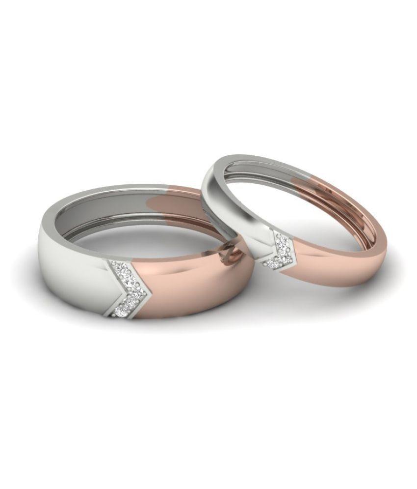 Naitik Jewels 92.5 Silver Cubic Zirconia Couple Bands