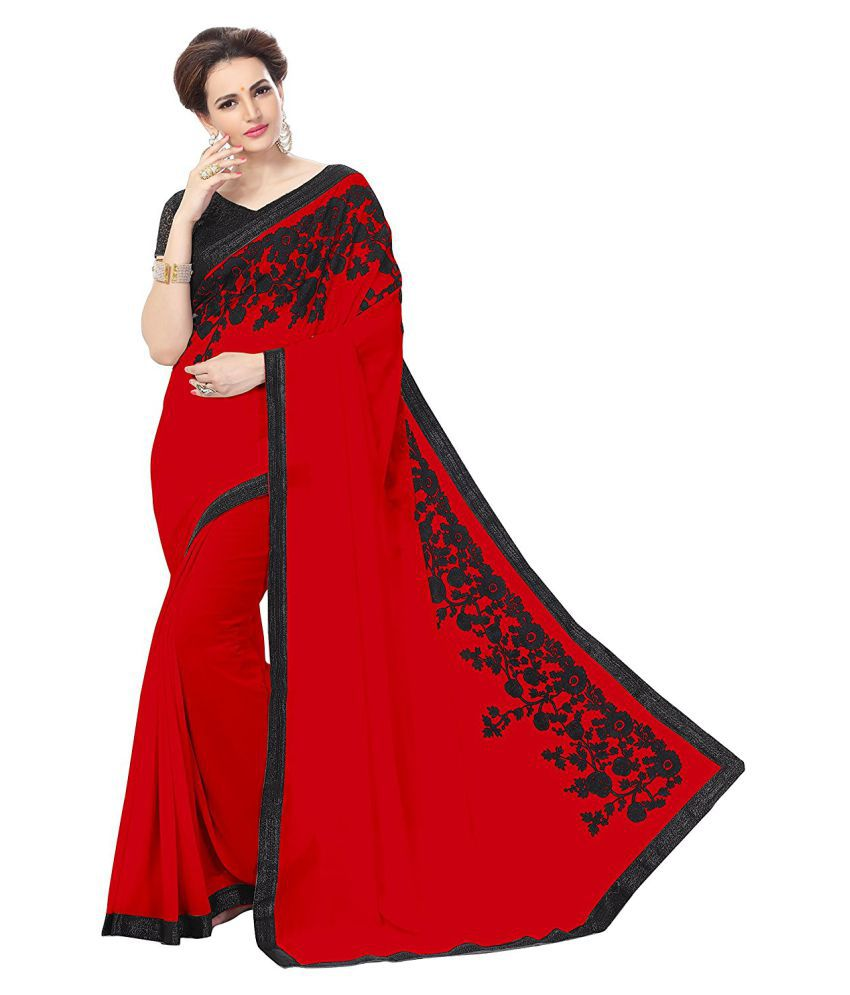 Online Bazaar Red Georgette Saree