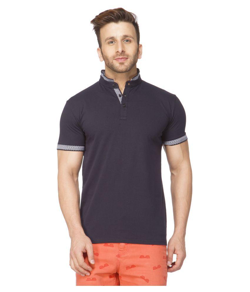 Tinted Navy High Neck T-Shirt