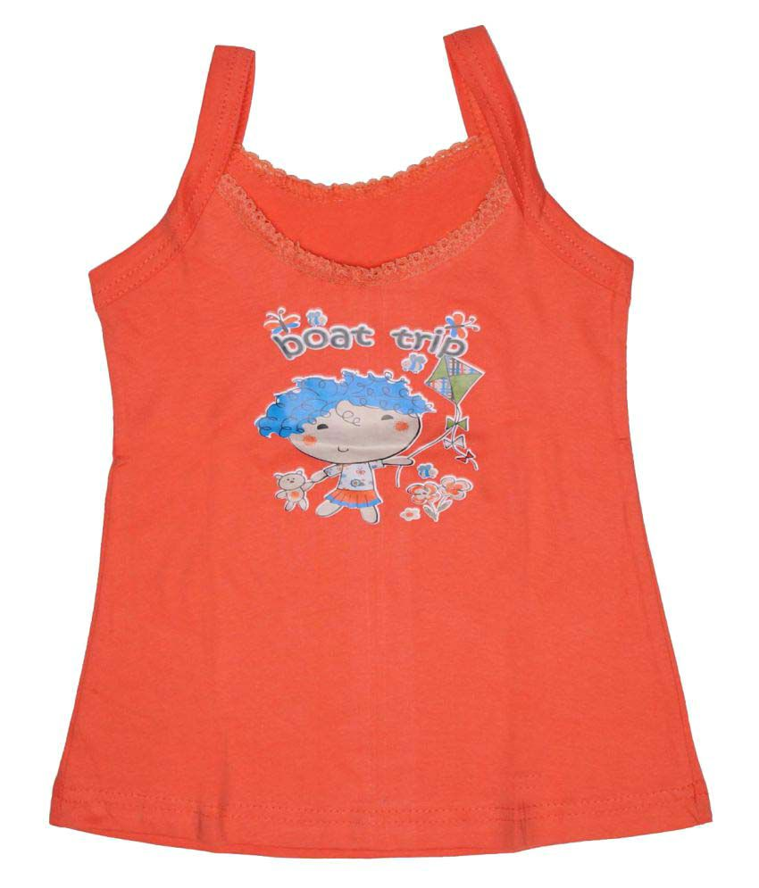 Babeezworld Orange Baby Girl's Cotton Sleeveless Top