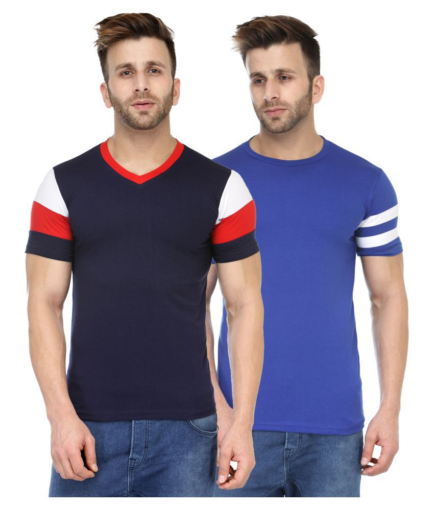 M Style Blue V-Neck T-Shirt Pack of 2
