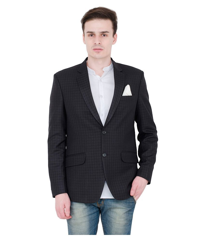 Lorenzini Designs Black Checks Party Blazers with Pocket Square