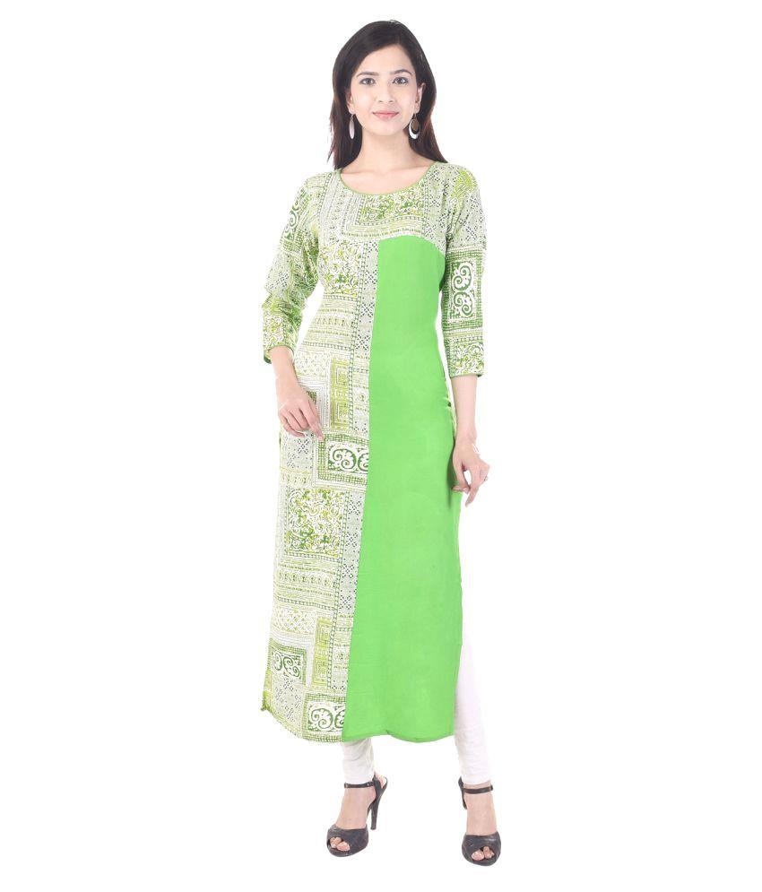 89 Shades Green Rayon Straight Kurti