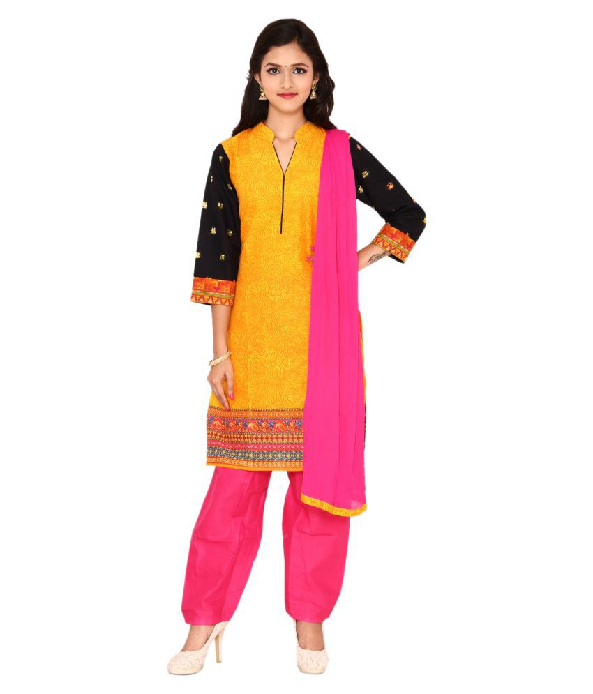 Ginni 6 Yellow Cotton Straight Stitched Suit