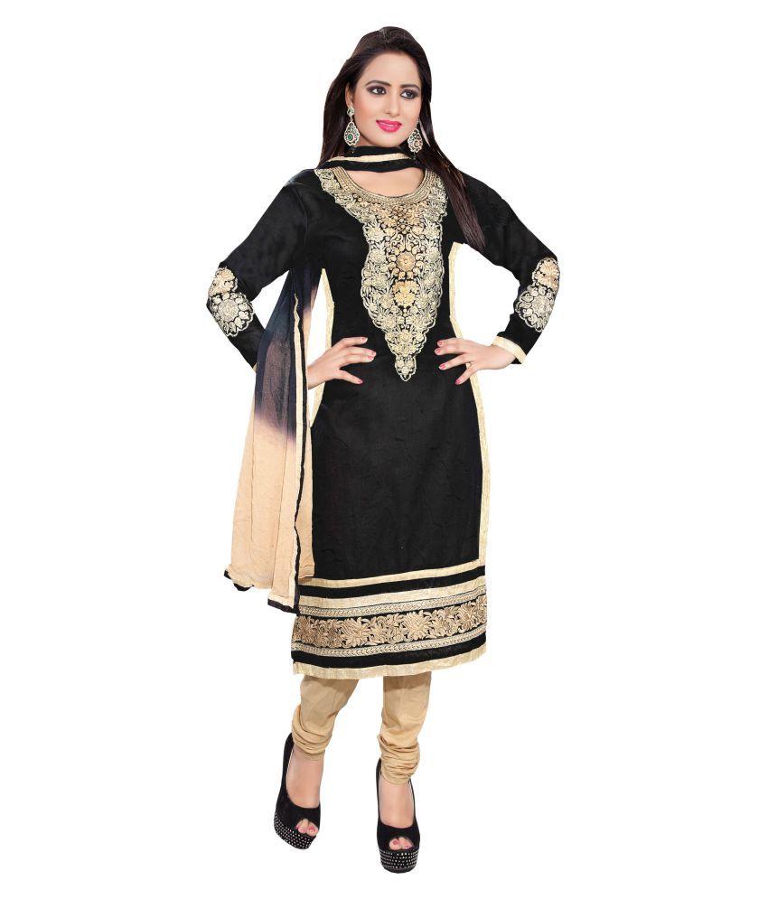 Kalki Traders Black Cotton Dress Material