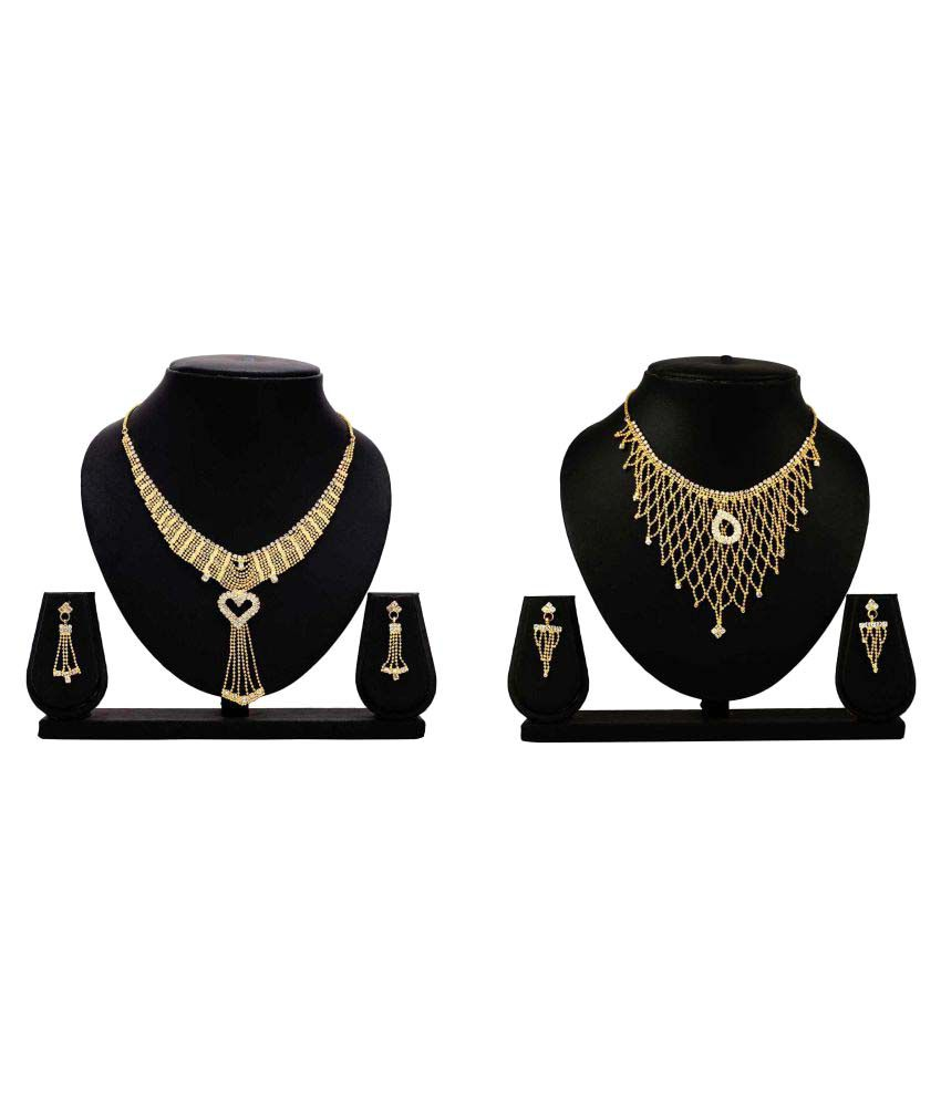 Bahucharaji Creation Golden Alloy Combo Necklace Set