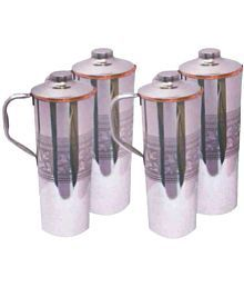 Veda Veda Copper Bottles Silver 4000 Ml Fridge Bottle Set Of 4
