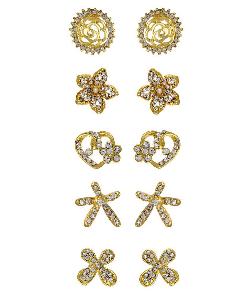 aa8552030 Vama Fashions Gold Plated Rhinestone Studded Multi-Design Stud Earrings  Combo for Girls & Women - Pack of 5 - Buy Vama Fashions Gold Plated  Rhinestone ...