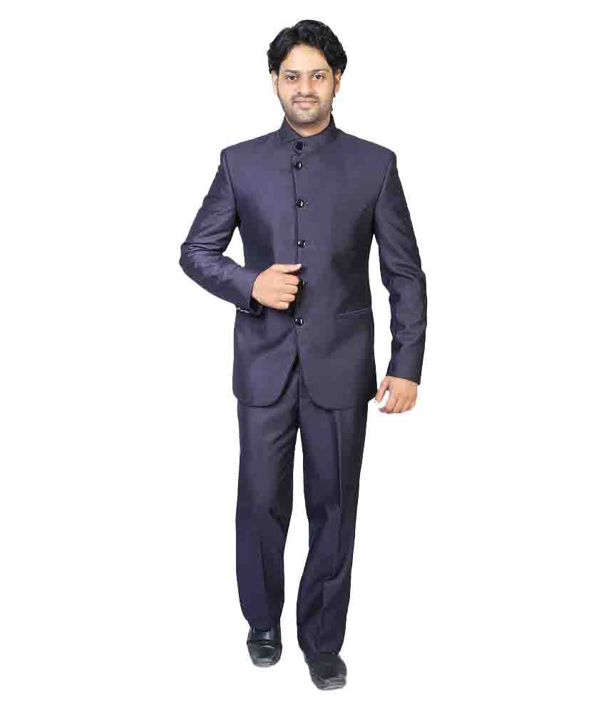 Bindals Blue Solid Party 2 Piece Suits