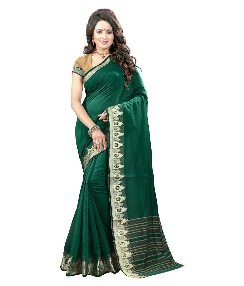 Awesome Green Cotton Silk Saree