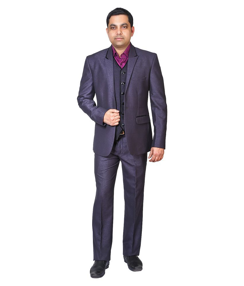 Bindals Purple Solid Party 3 Piece Suits