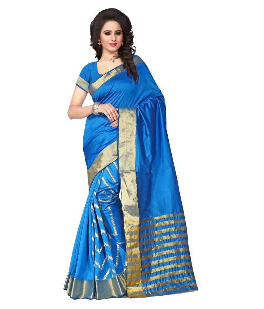 Fashion Now Blue Cotton Poly Saree