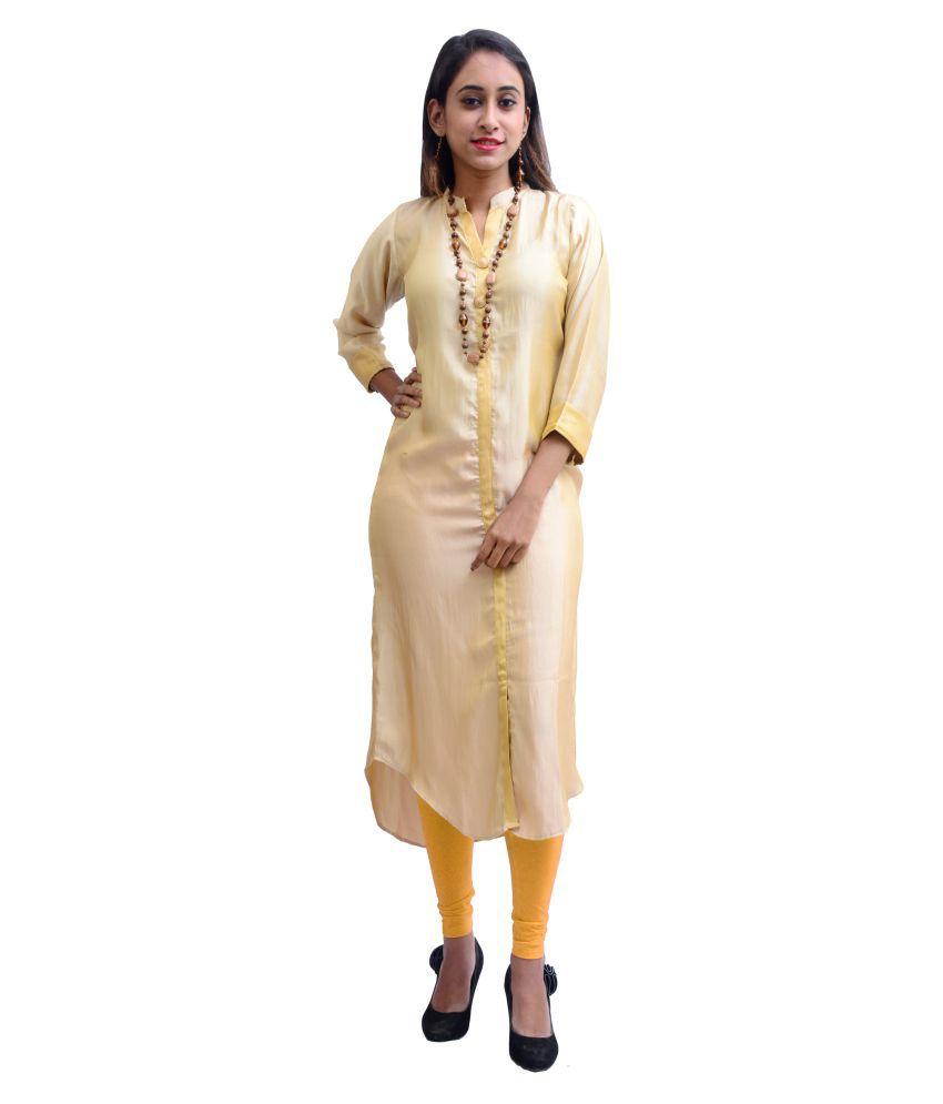 Charu Boutique Gold Silk Front Slit Kurti