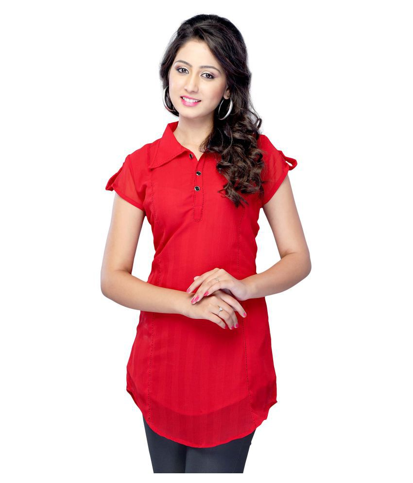 fb2f5375f1 Miss amp; Mrs Red Georgette Straight Kurti available at SnapDeal for Rs.449