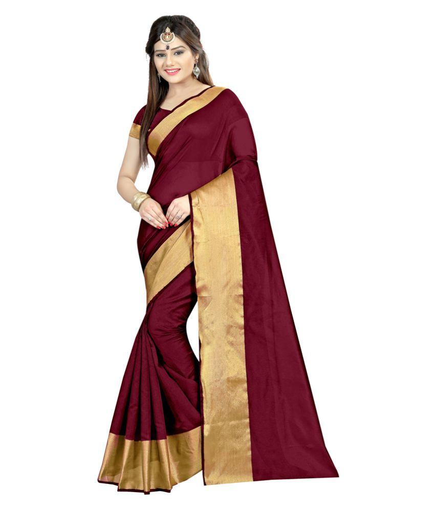 Radiance Star Maroon Cotton Silk Saree