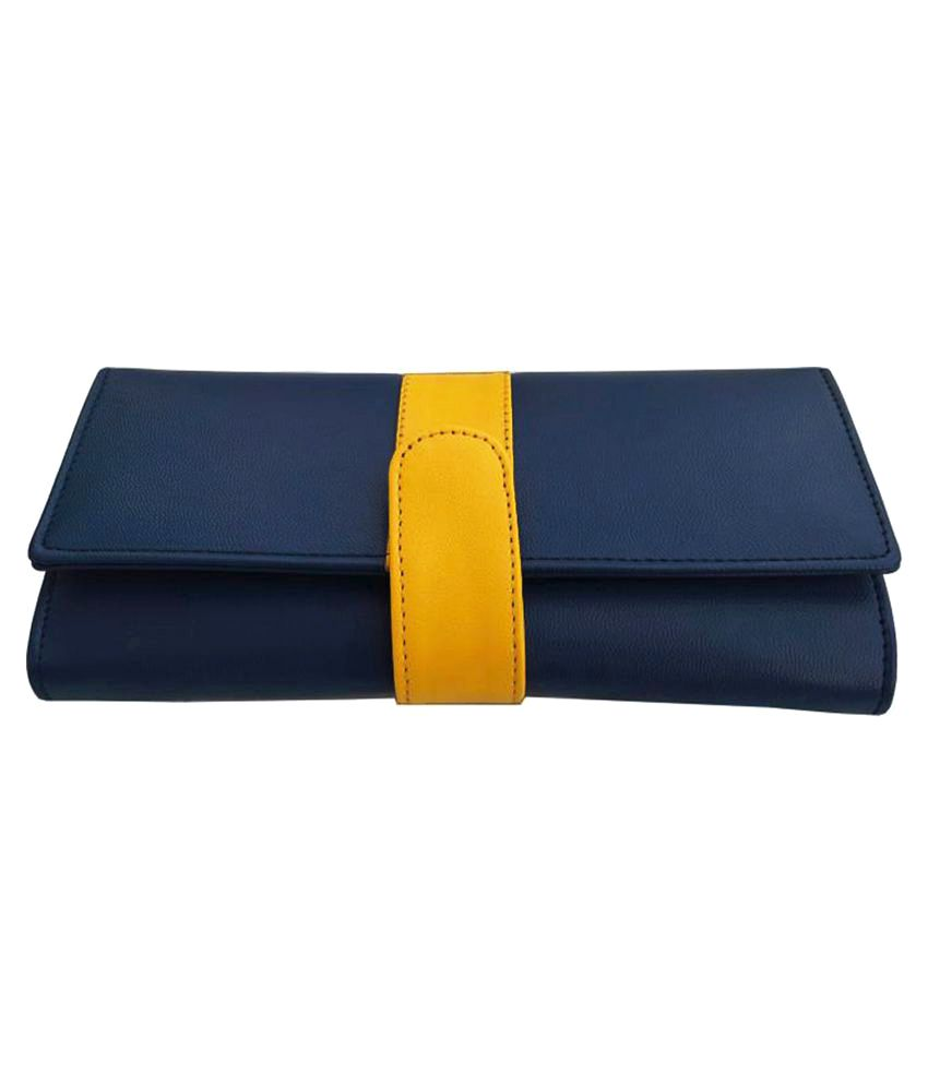 4datr Blue Pure Leather Box Clutch