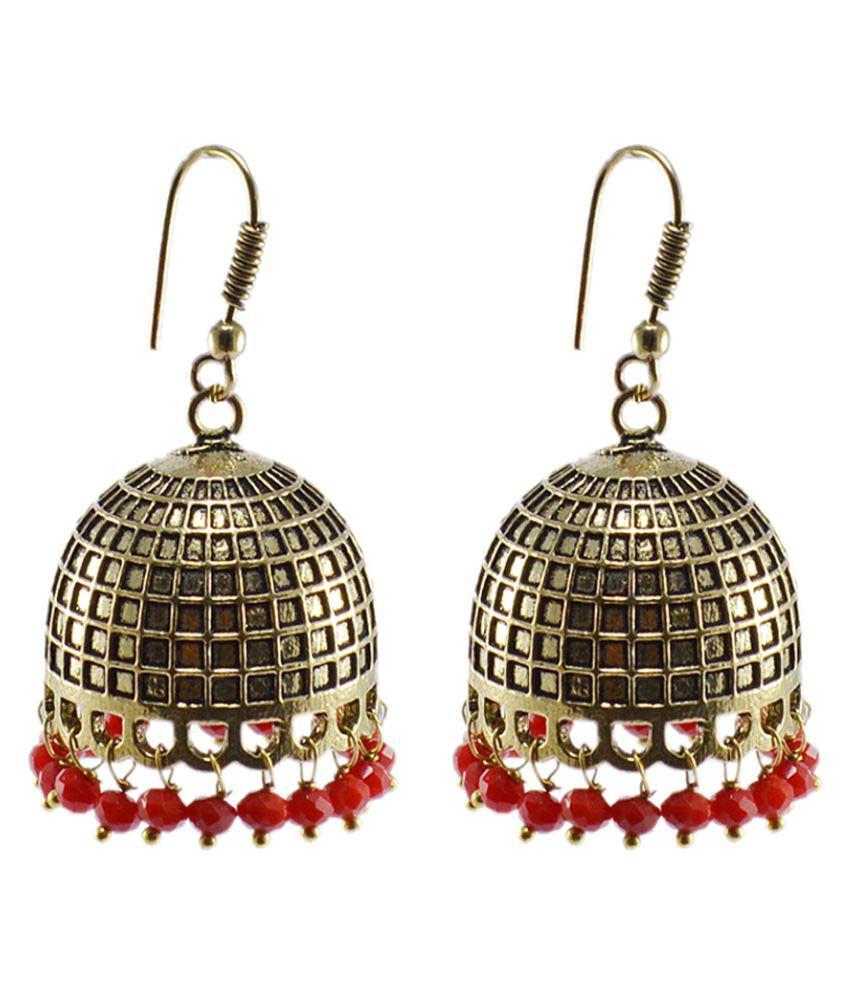 Silvesto India Red Jhumki Earrings Single Pair