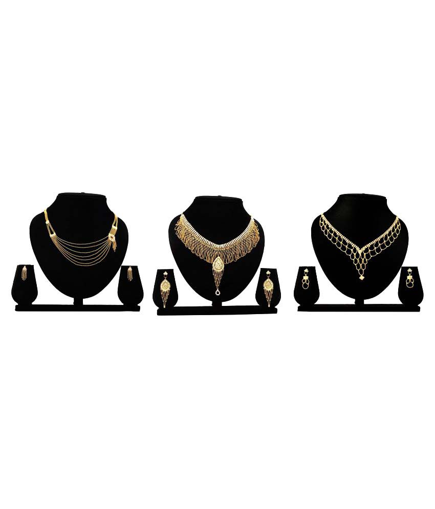 Bahucharaji Creation Golden Alloy Necklace Set Combo - Pack of 3