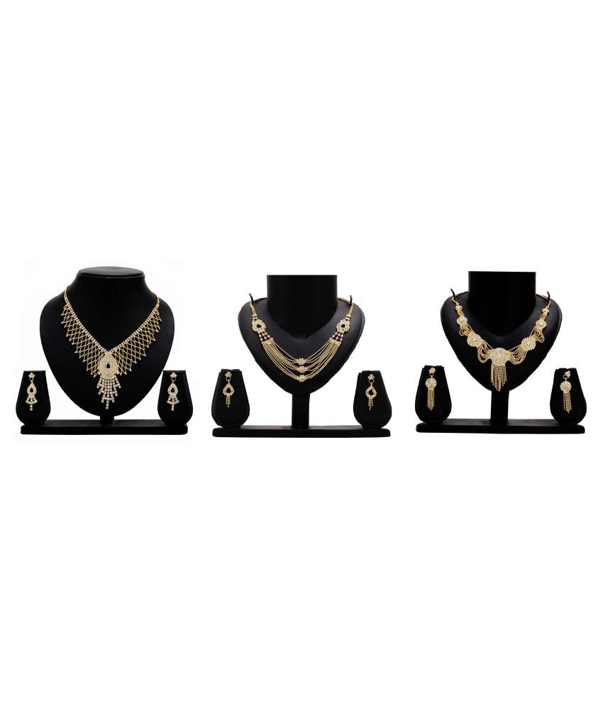 Bahucharaji Creation Presents Golden Color Alloy Set of 3 Piece Necklace Set Combo