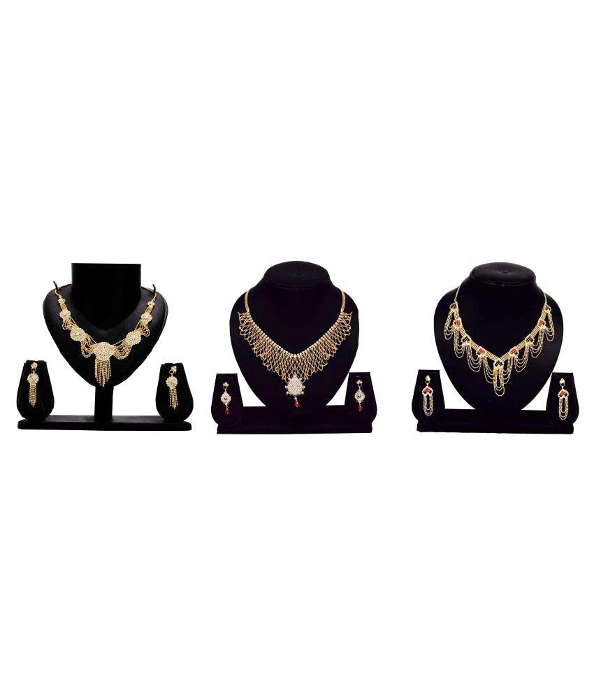 Bahucharaji Creation Presents Golden Color Alloy Set of 3 Pieces Necklace Set
