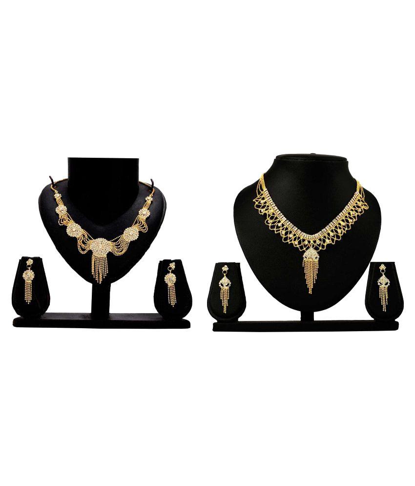 Bahucharaji Creation Presents Golden Alloy Set of 2 Necklace Set