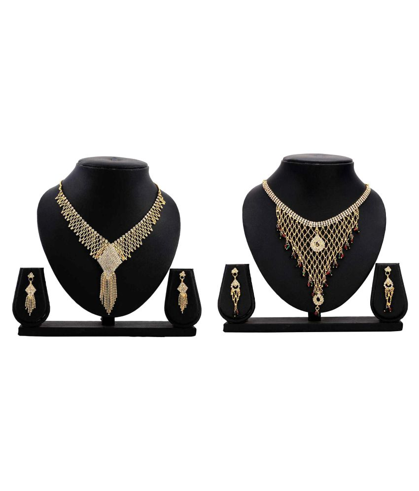 Bahucharaji Creation Presents Golden Alloy Combo Necklaces Set