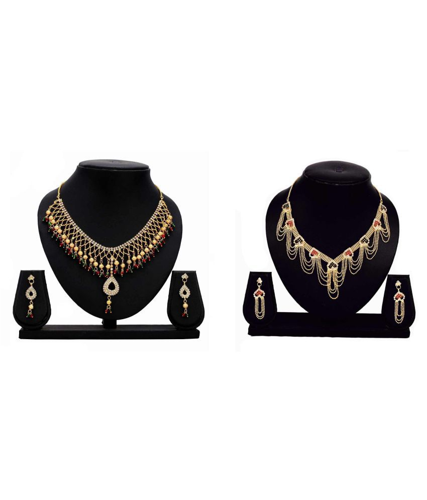 Bahucharaji Creation Presents Multicolour Alloy Combo Necklace Set
