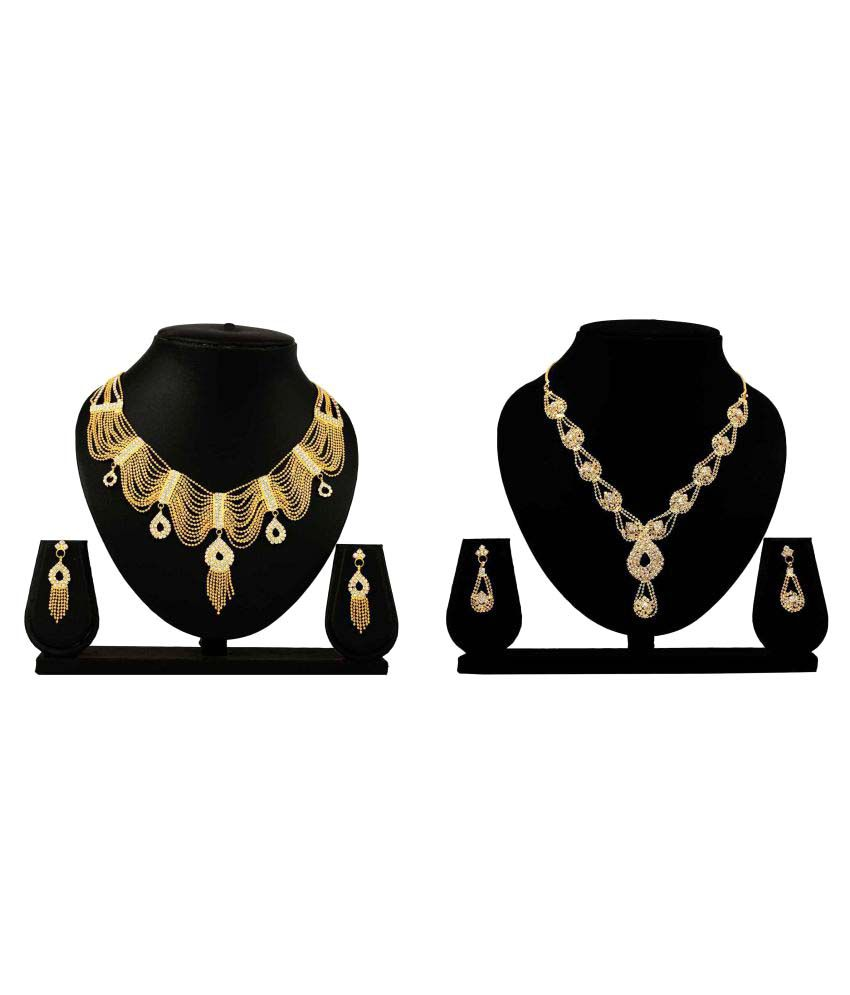 Bahucharaji Creation Presents Golden Alloy Combo Necklace Set