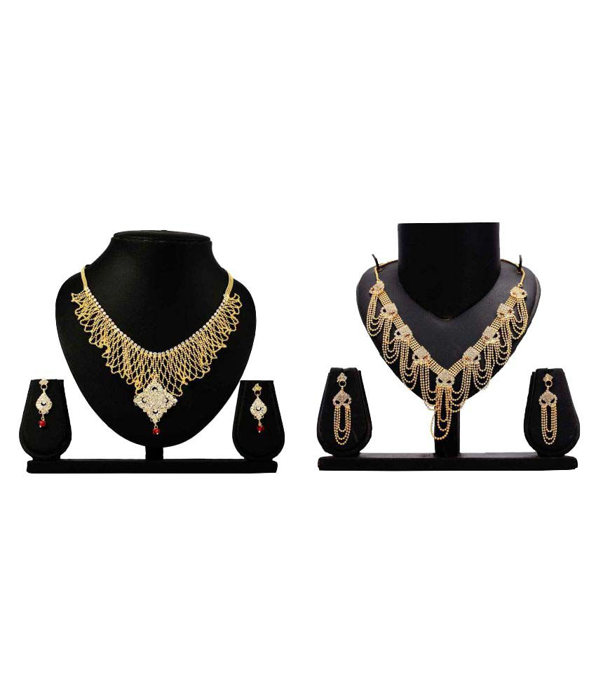 Bahucharaji Creation Presents Golden Alloy Necklace Set Combo