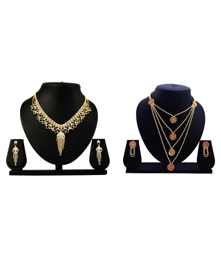 Bahucharaji Creation Presents Golden Alloy Combo Necklace Set.