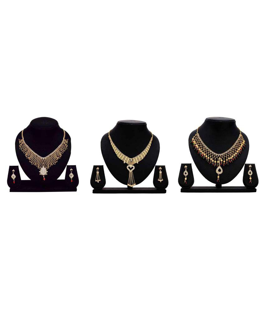 Bahucharaji Creation Presents Golden Color Alloy Set of 3 Piece Necklace Set