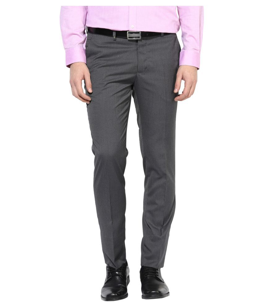 Turtle Grey Slim -Fit Flat Trousers