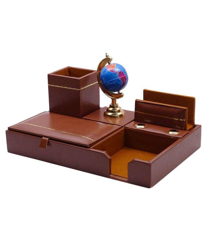 Kebica 6 Compartments Faux Leather Desk Organizer Brown