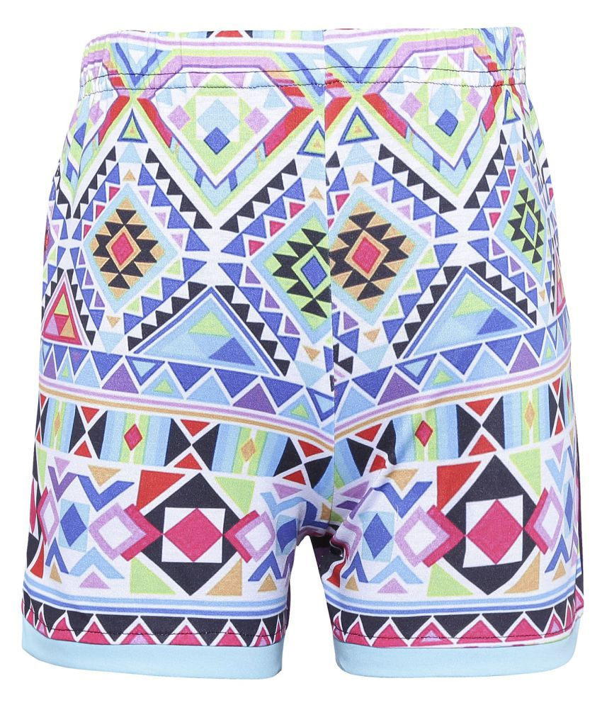 Punkster Regular Fit Multicolor Printed Cotton Basic Shorts For Girls