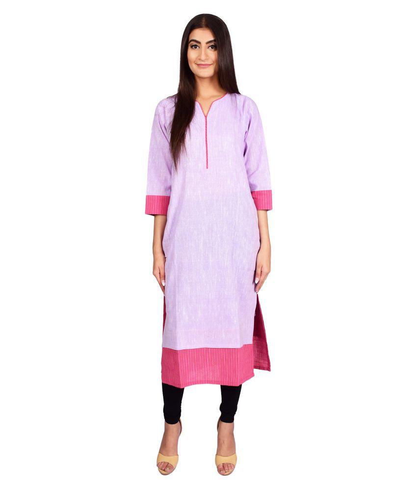 Stylefident Pink Cotton Straight Kurti