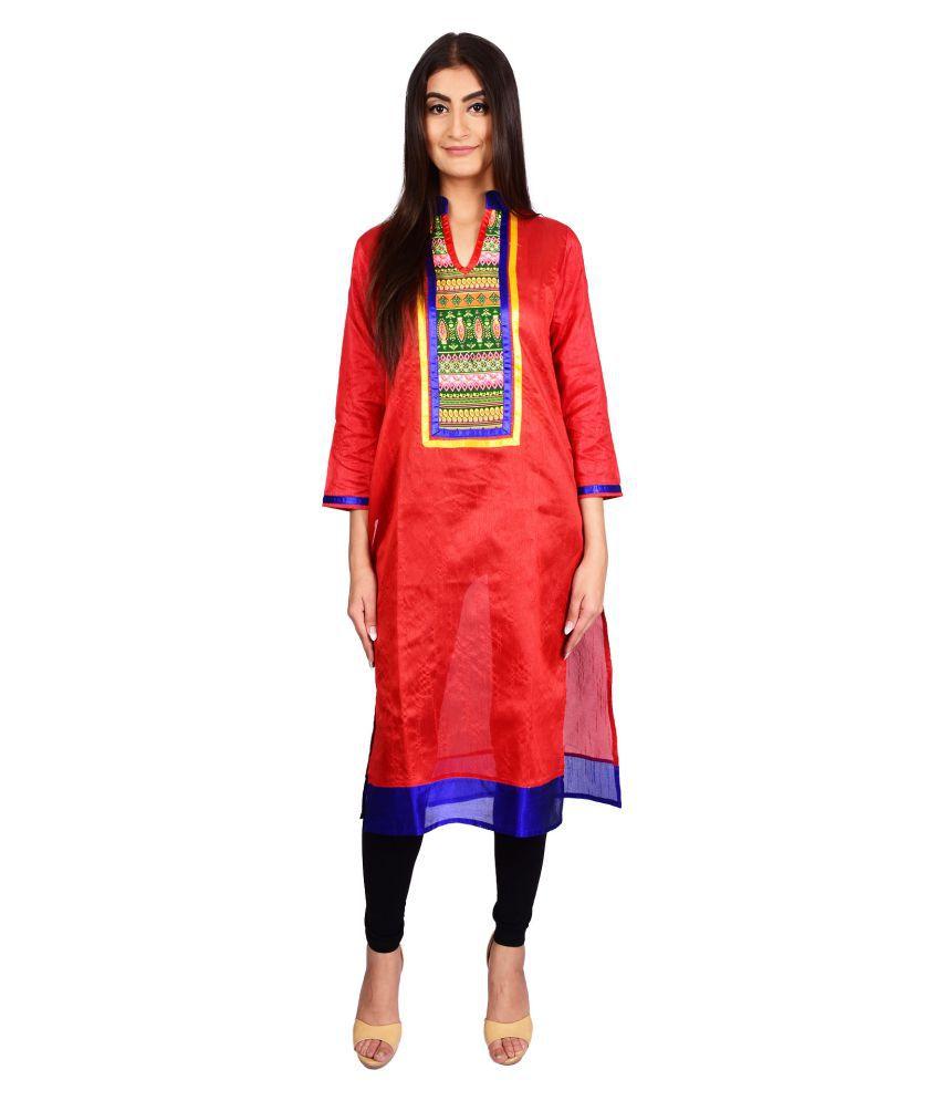 Stylefident Red Dupion Silk Straight Kurti