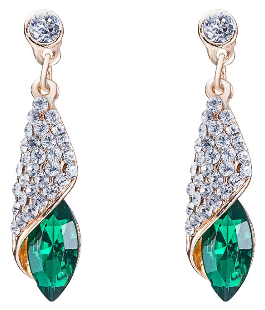 Kiss Jewels  Green Cubic Zirconia Drop Earring For Women